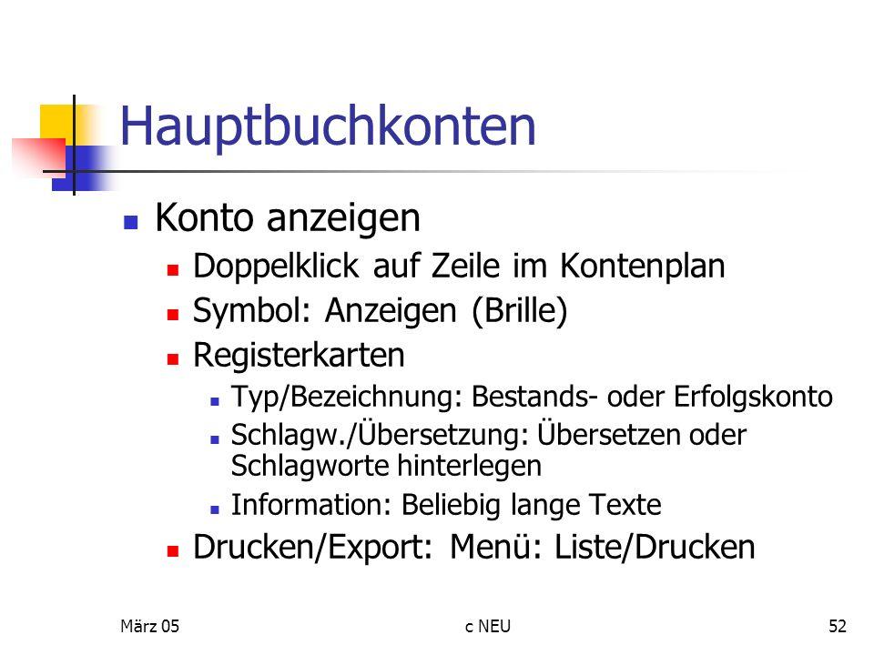 Hauptbuchkonten Konto anzeigen Doppelklick auf Zeile im Kontenplan