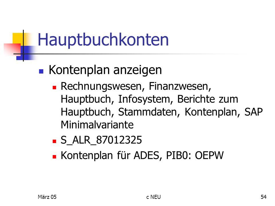 Hauptbuchkonten Kontenplan anzeigen