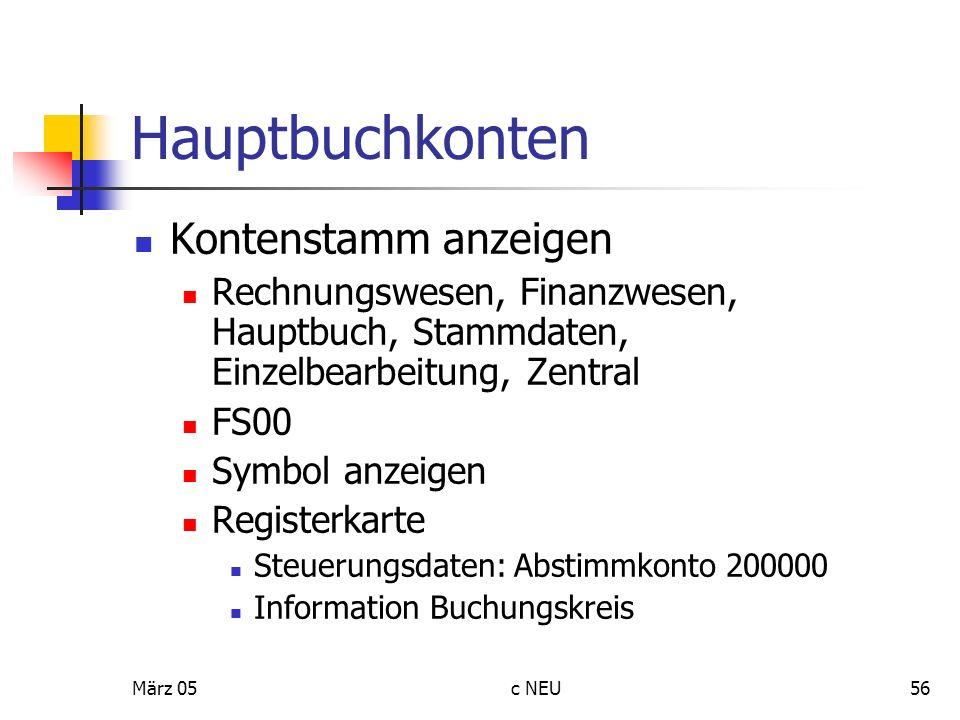 Hauptbuchkonten Kontenstamm anzeigen