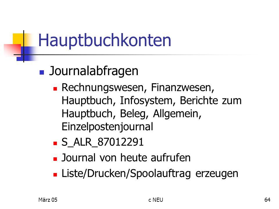 Hauptbuchkonten Journalabfragen