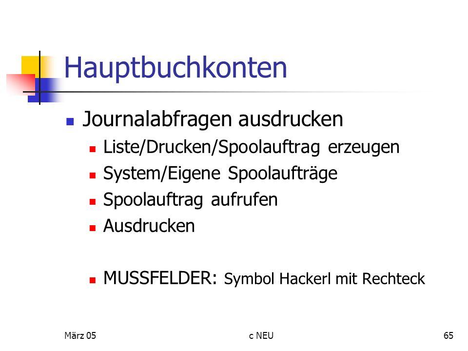 Hauptbuchkonten Journalabfragen ausdrucken