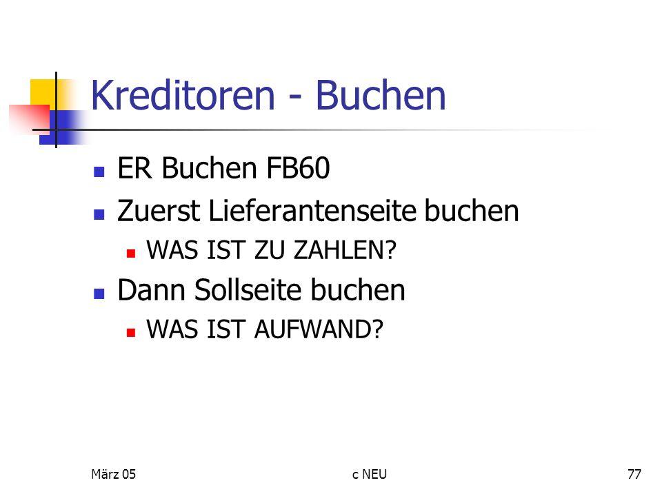 Kreditoren - Buchen ER Buchen FB60 Zuerst Lieferantenseite buchen