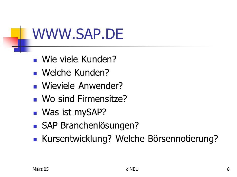 WWW.SAP.DE Wie viele Kunden Welche Kunden Wieviele Anwender
