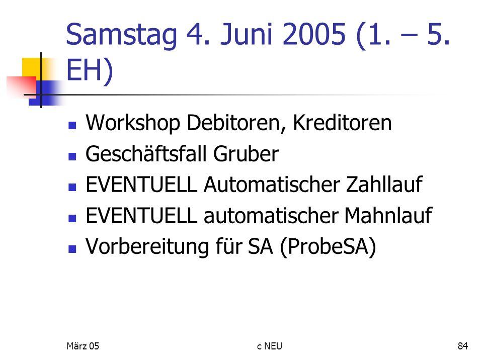 Samstag 4. Juni 2005 (1. – 5. EH) Workshop Debitoren, Kreditoren