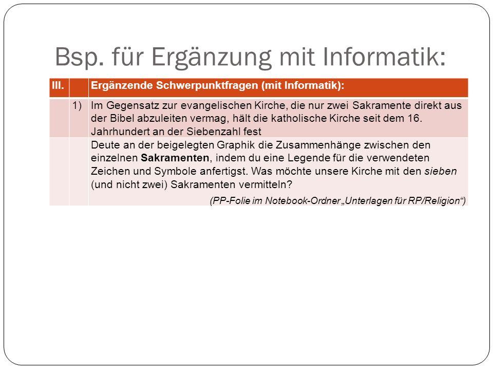 Bsp. für Ergänzung mit Informatik: