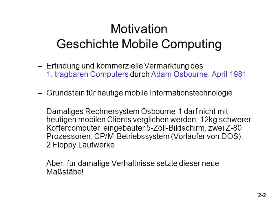 Motivation Geschichte Mobile Computing