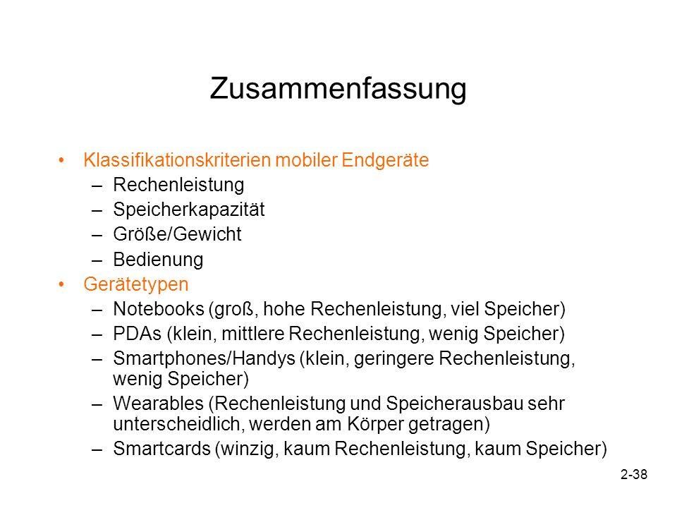 Zusammenfassung Klassifikationskriterien mobiler Endgeräte