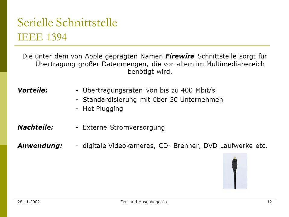 Serielle Schnittstelle IEEE 1394