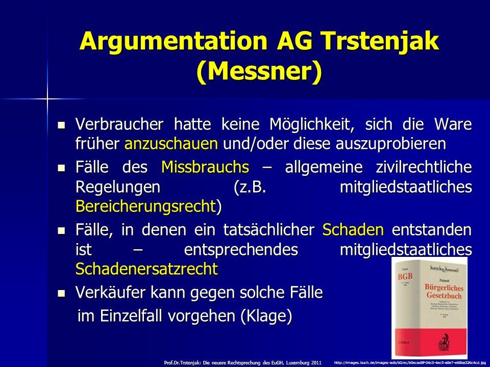 Argumentation AG Trstenjak (Messner)