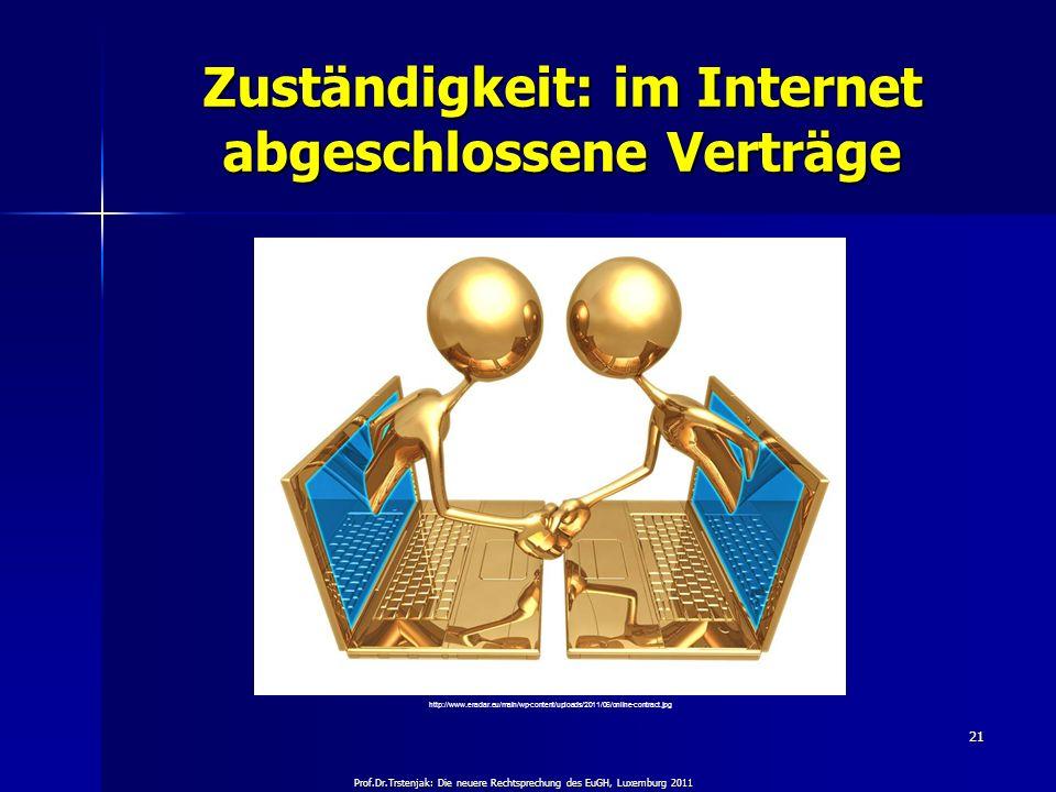 Zuständigkeit: im Internet abgeschlossene Verträge