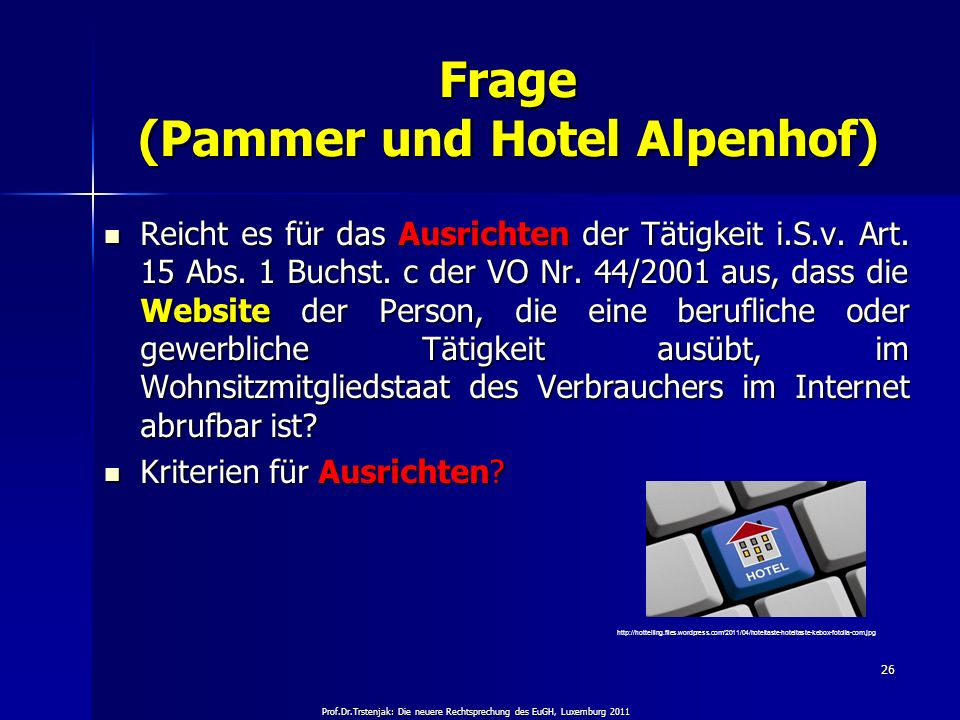 Frage (Pammer und Hotel Alpenhof)