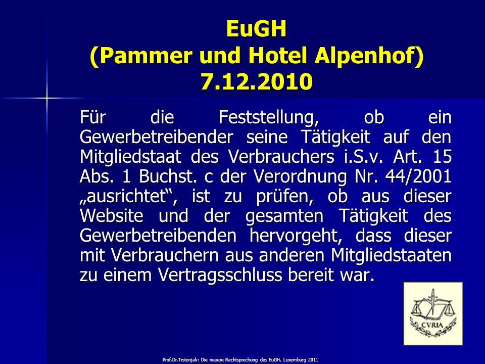 EuGH (Pammer und Hotel Alpenhof) 7.12.2010