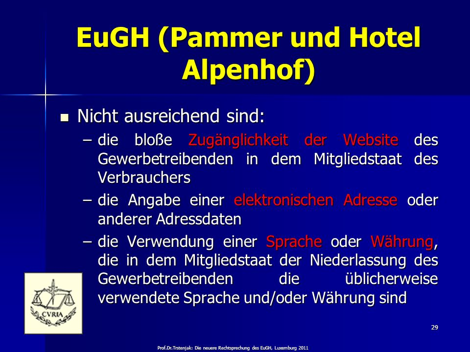 EuGH (Pammer und Hotel Alpenhof)