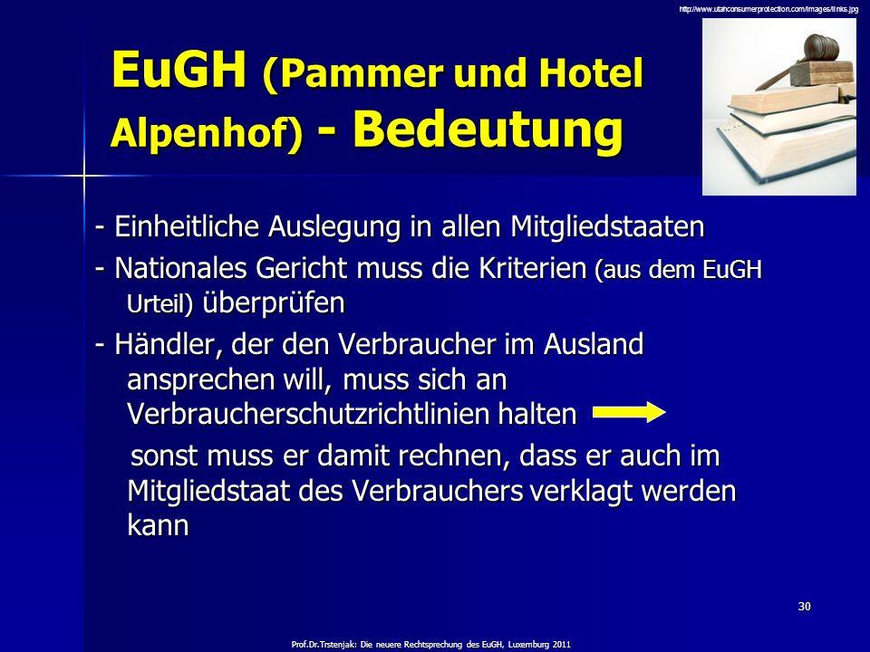 EuGH (Pammer und Hotel Alpenhof) - Bedeutung
