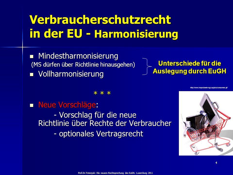 Verbraucherschutzrecht in der EU - Harmonisierung