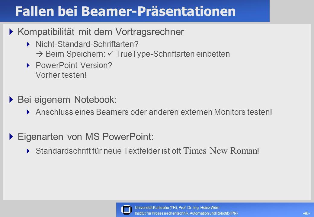 Fallen bei Beamer-Präsentationen