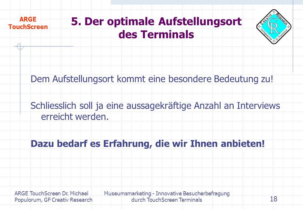 5. Der optimale Aufstellungsort des Terminals