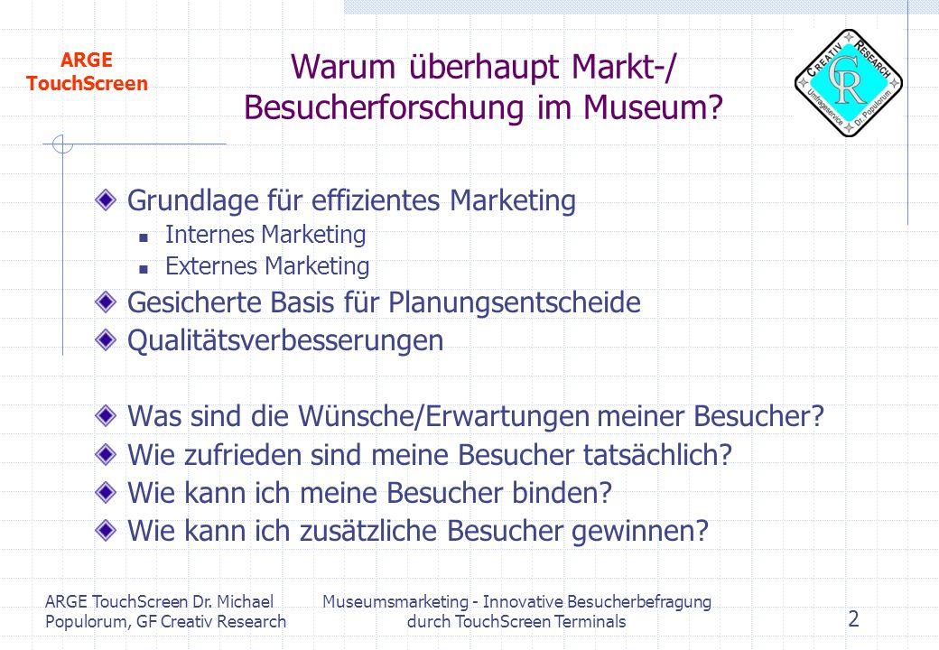 Warum überhaupt Markt-/ Besucherforschung im Museum