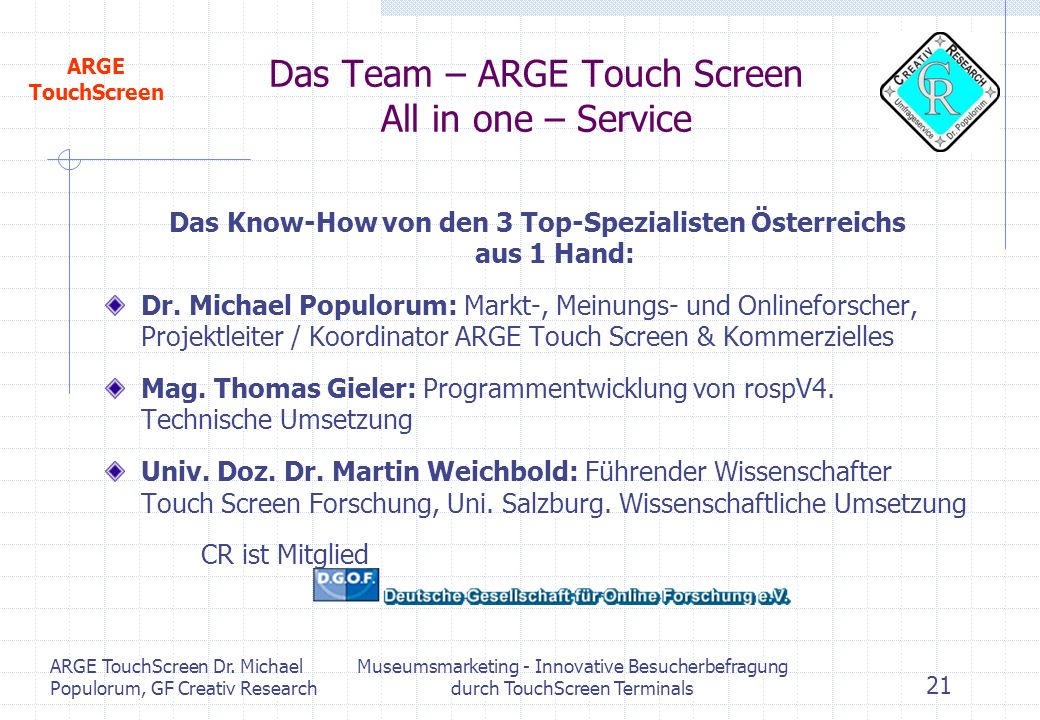 Das Team – ARGE Touch Screen All in one – Service