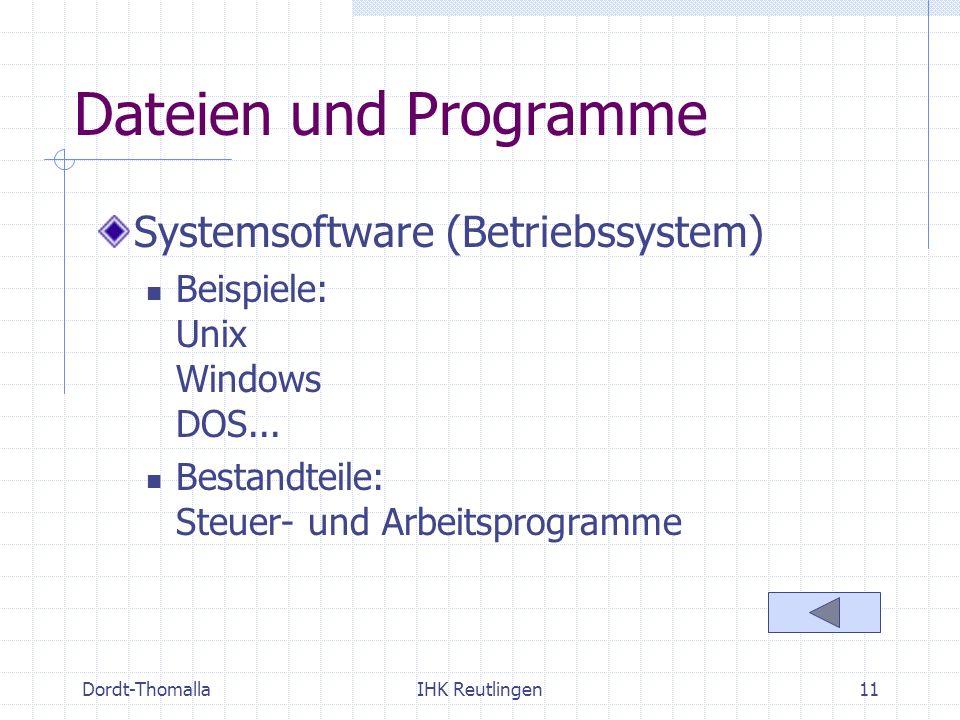 Dateien und Programme Systemsoftware (Betriebssystem)