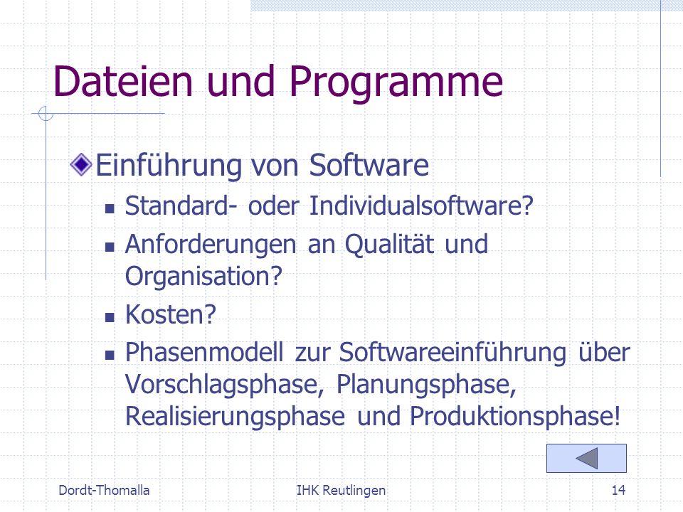 Dateien und Programme Einführung von Software