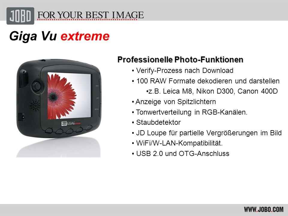 Giga Vu extreme Professionelle Photo-Funktionen