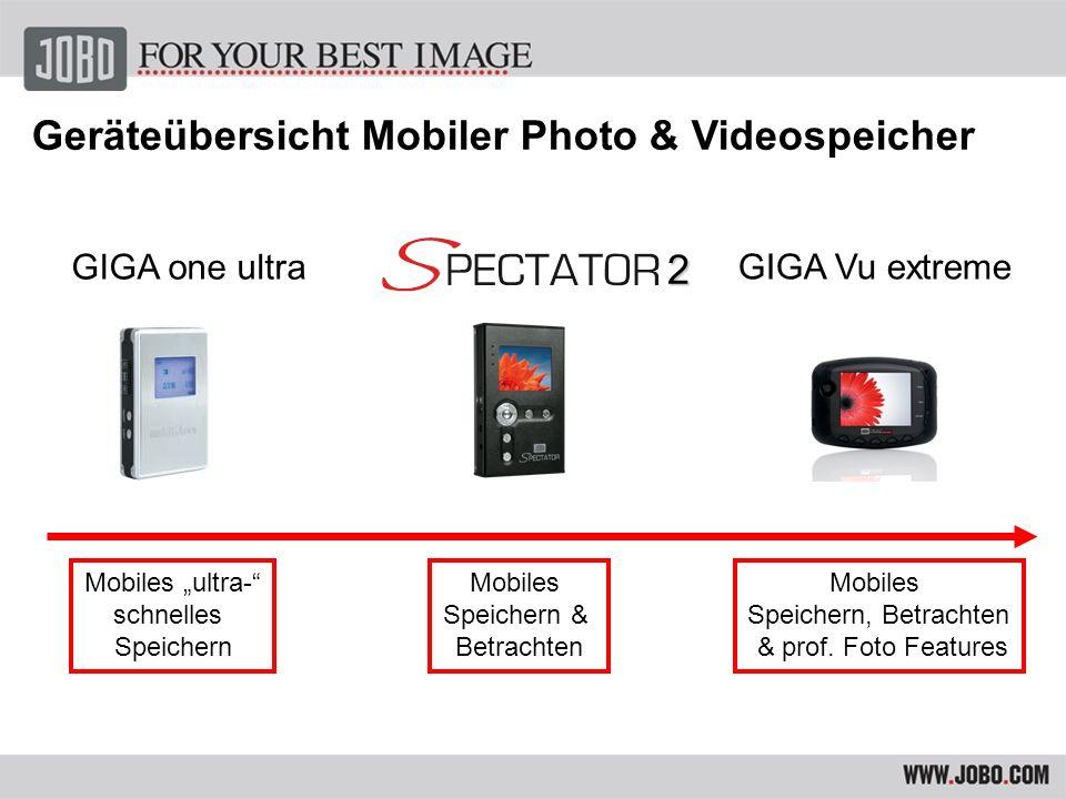 Geräteübersicht Mobiler Photo & Videospeicher