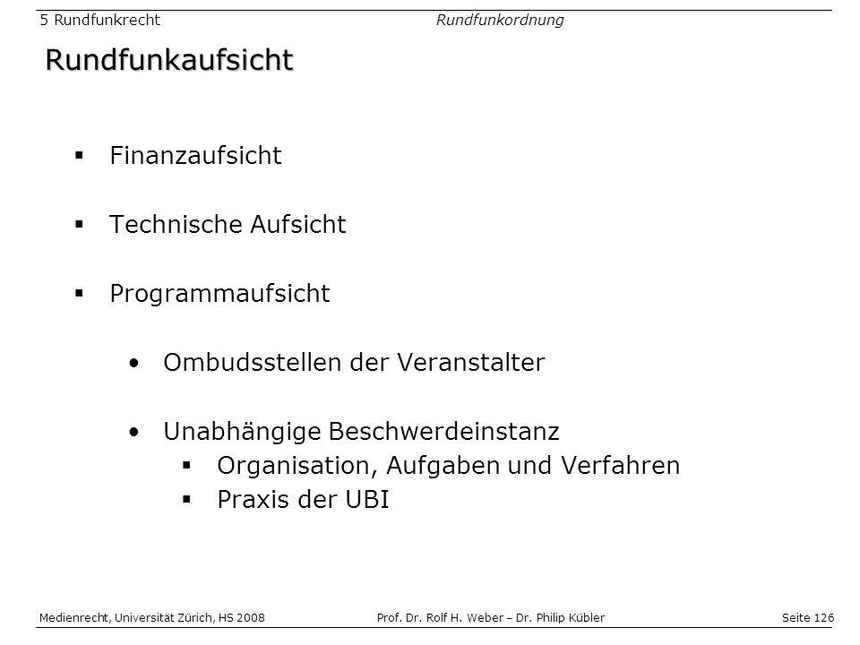 Rundfunkaufsicht Finanzaufsicht Technische Aufsicht Programmaufsicht