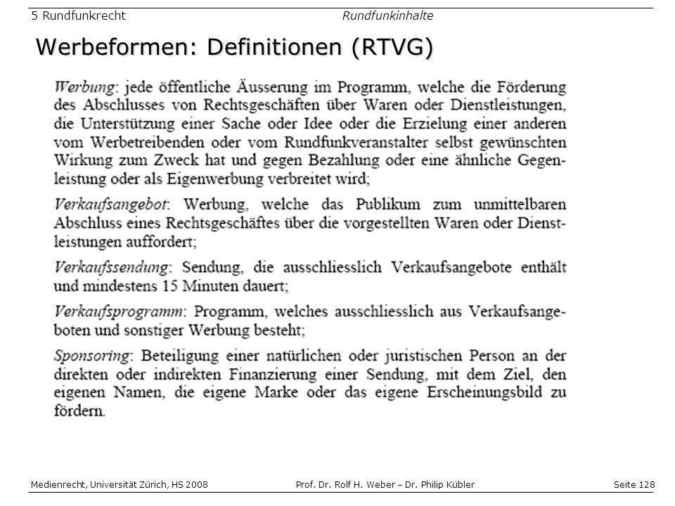 Werbeformen: Definitionen (RTVG)