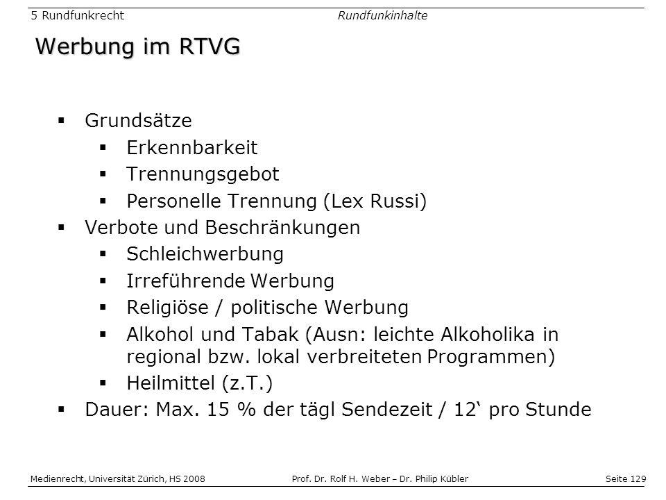 Werbung im RTVG Grundsätze Erkennbarkeit Trennungsgebot
