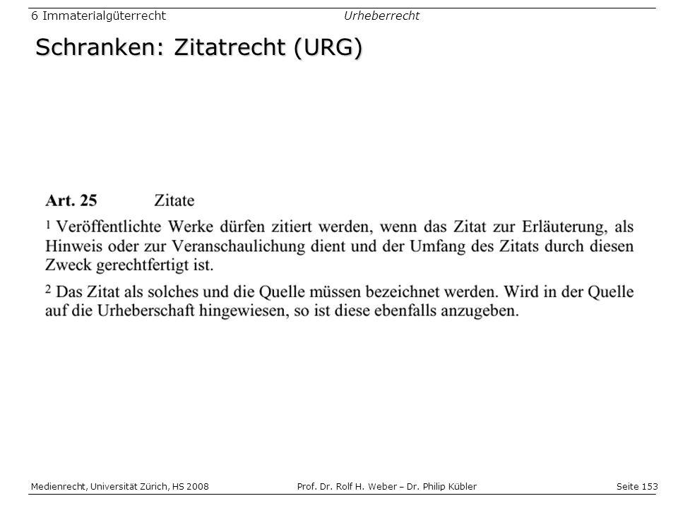 Schranken: Zitatrecht (URG)