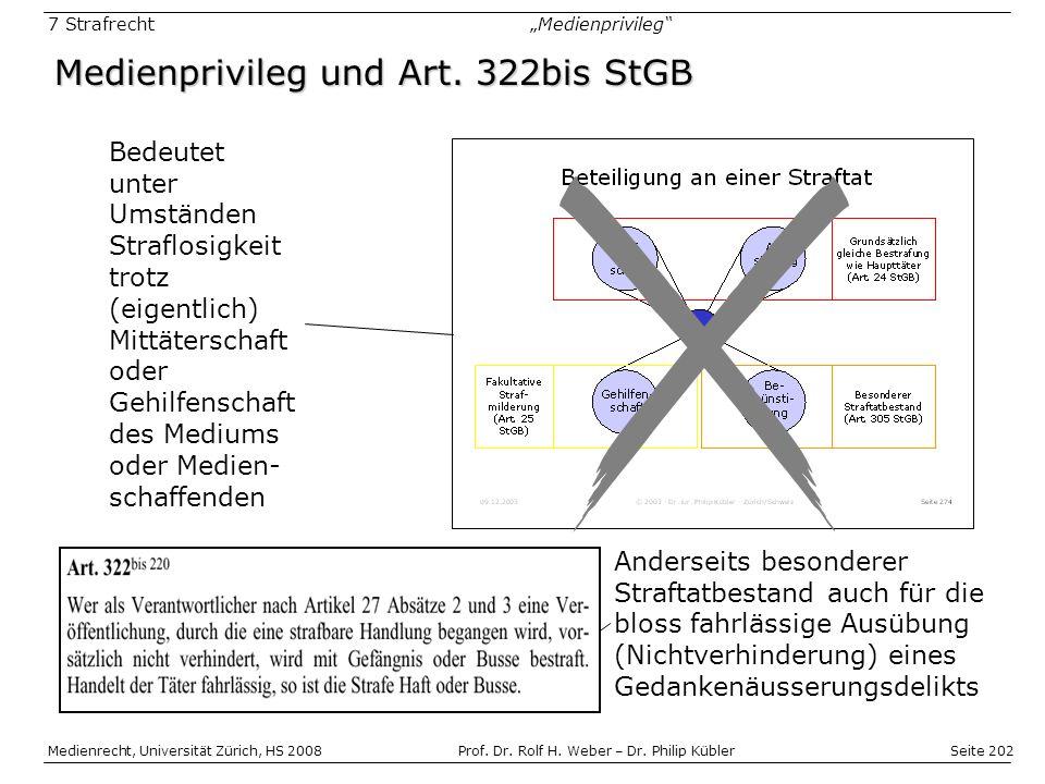 Medienprivileg und Art. 322bis StGB