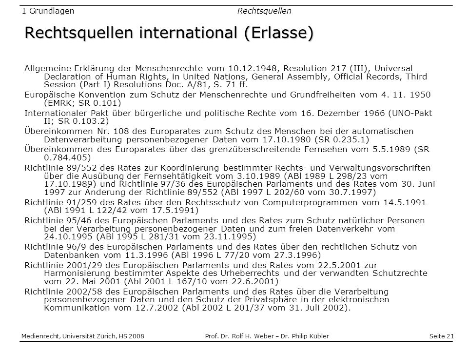 Rechtsquellen international (Erlasse)