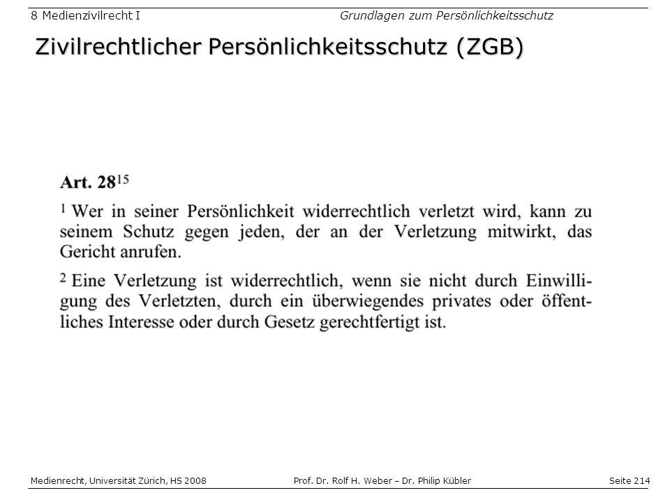 Zivilrechtlicher Persönlichkeitsschutz (ZGB)