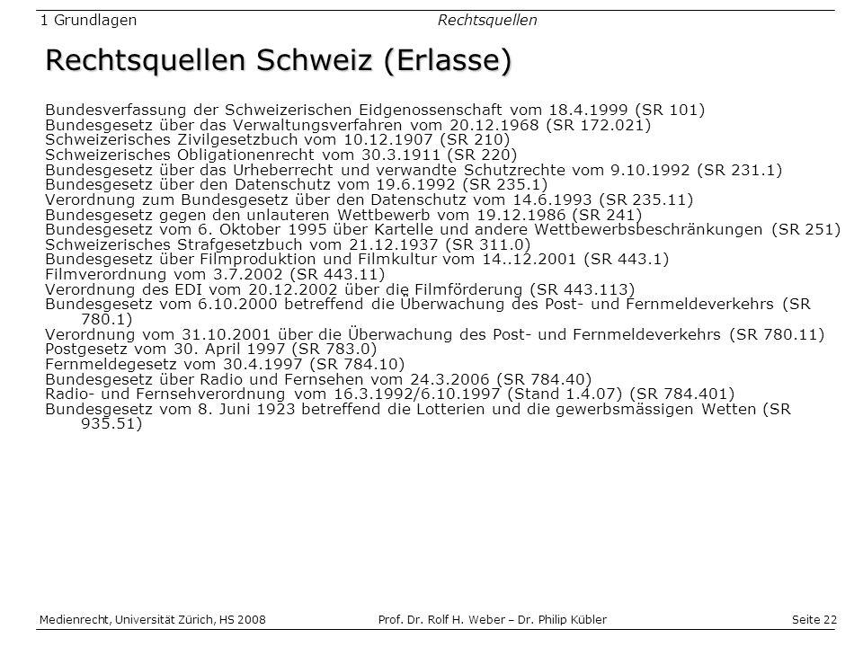 Rechtsquellen Schweiz (Erlasse)
