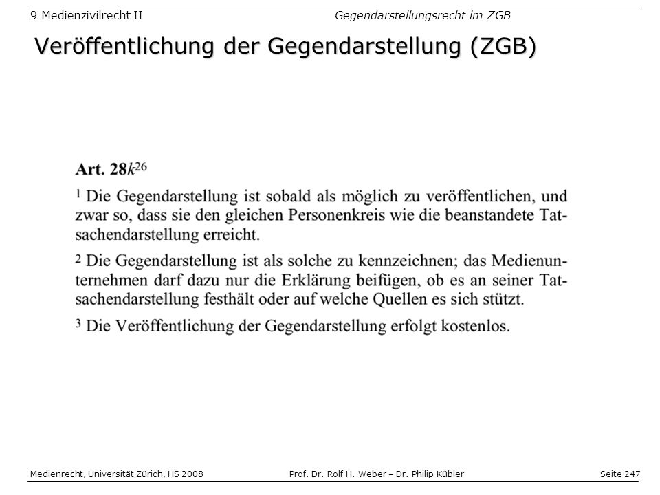 Veröffentlichung der Gegendarstellung (ZGB)