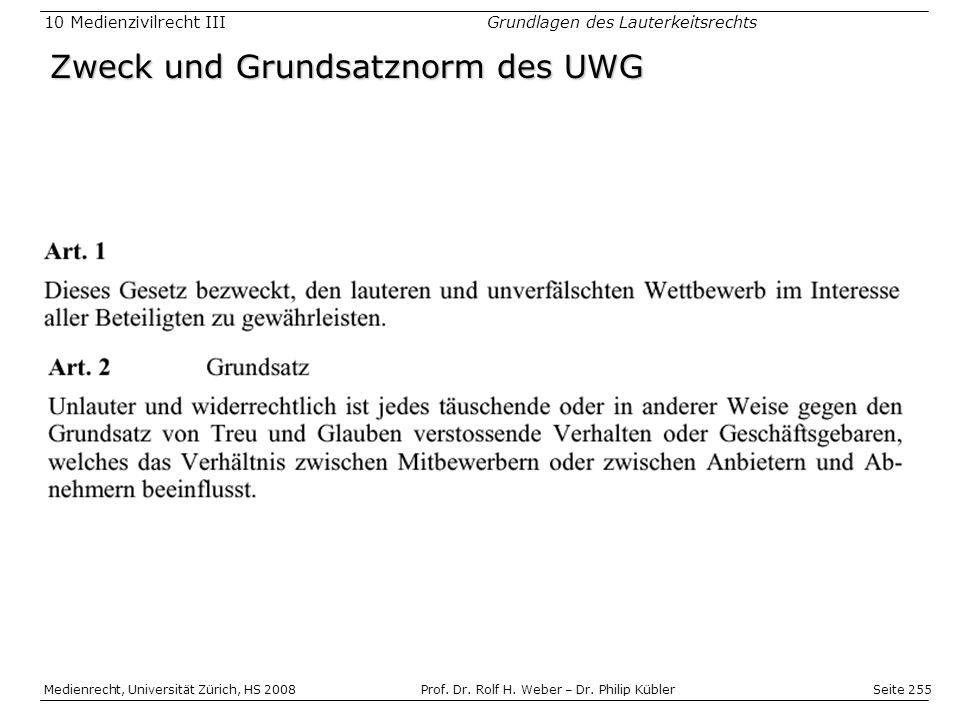 Zweck und Grundsatznorm des UWG