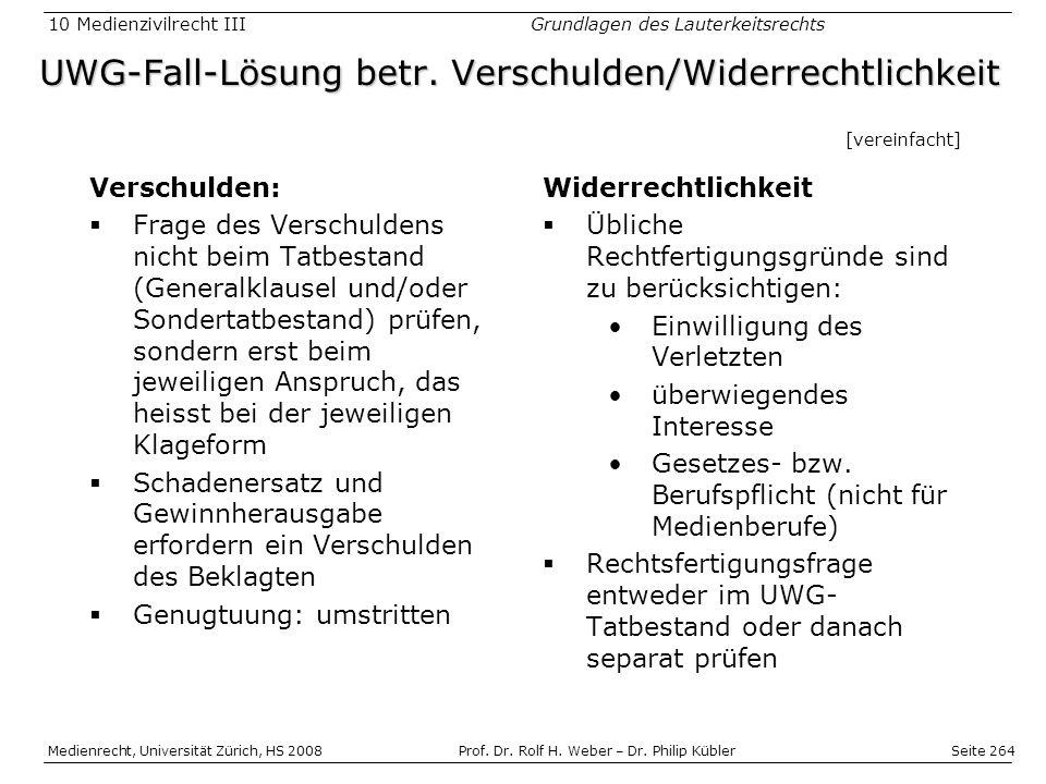 UWG-Fall-Lösung betr. Verschulden/Widerrechtlichkeit