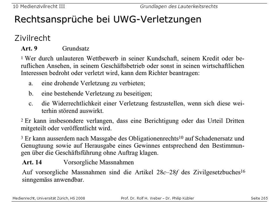 Rechtsansprüche bei UWG-Verletzungen
