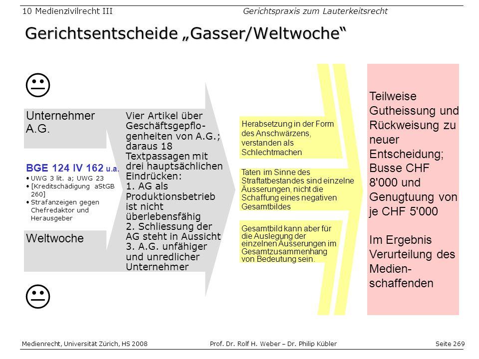 """Gerichtsentscheide """"Gasser/Weltwoche"""