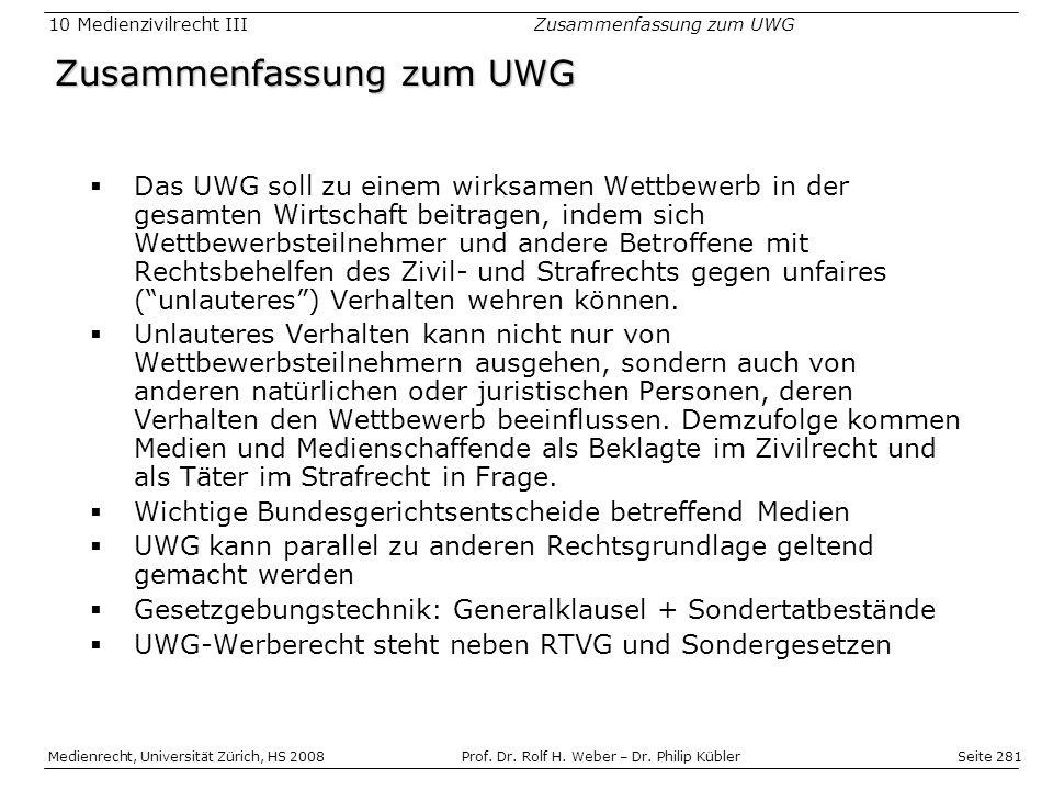 Zusammenfassung zum UWG