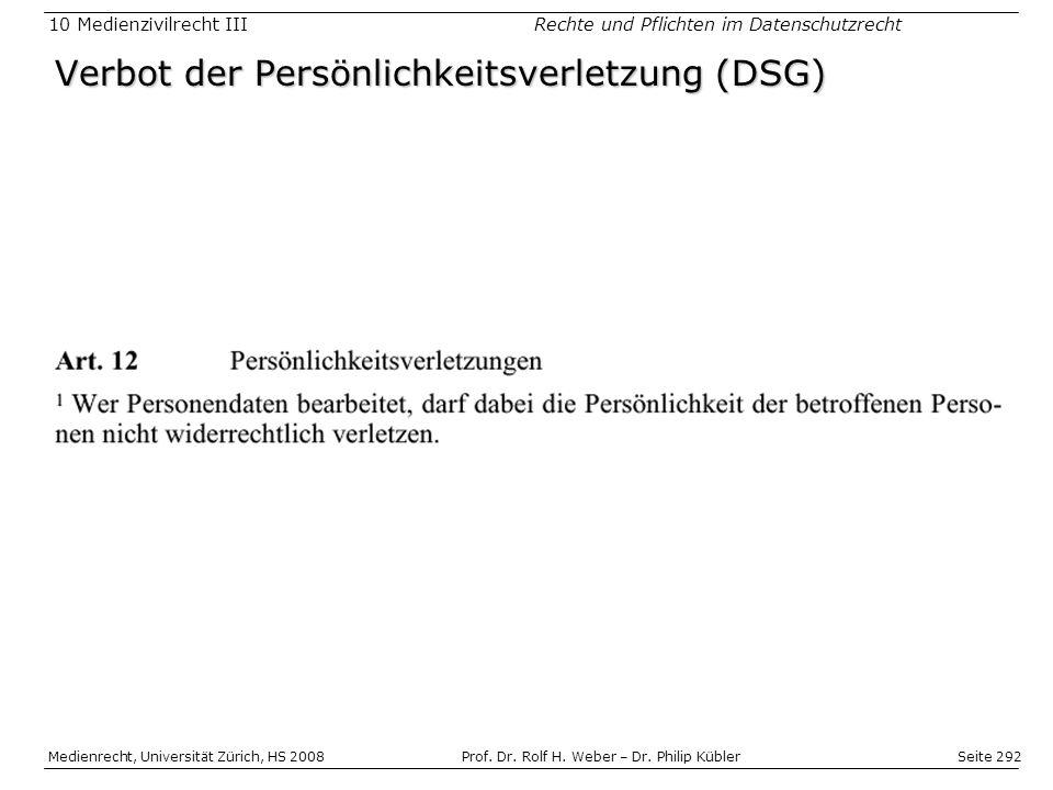 Verbot der Persönlichkeitsverletzung (DSG)