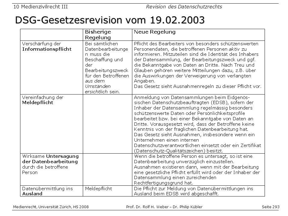 DSG-Gesetzesrevision vom 19.02.2003