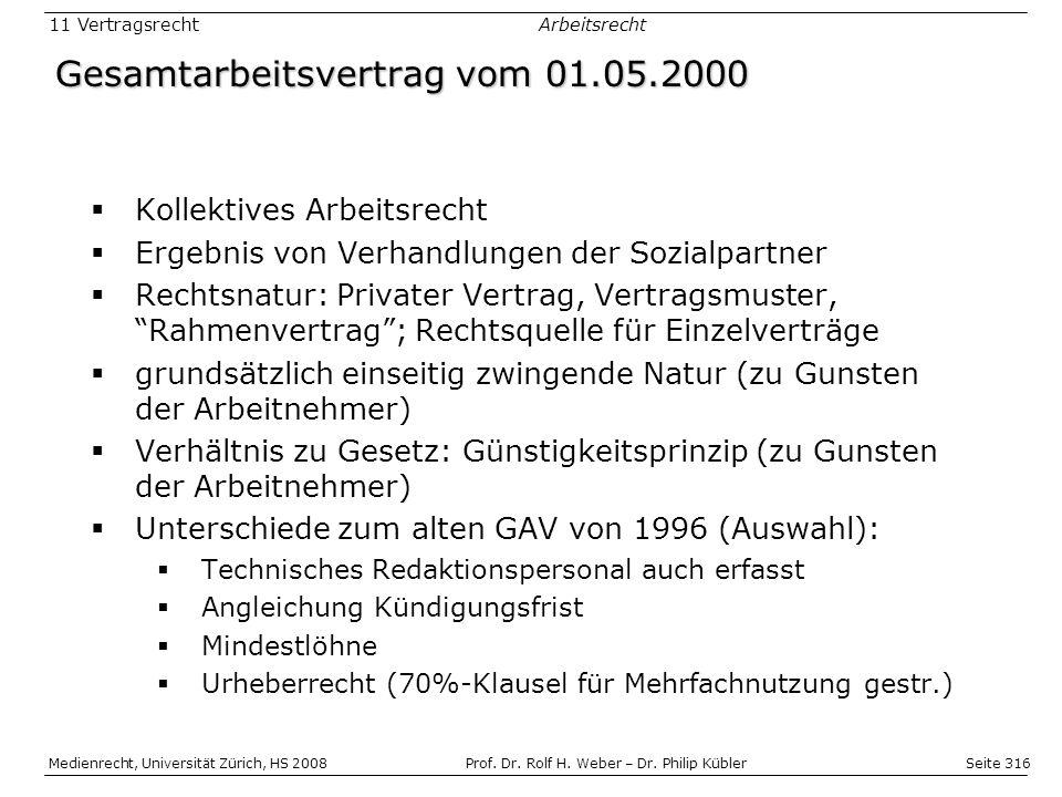 Gesamtarbeitsvertrag vom 01.05.2000