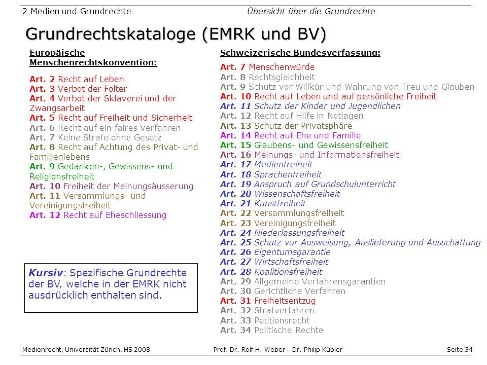 Grundrechtskataloge (EMRK und BV)