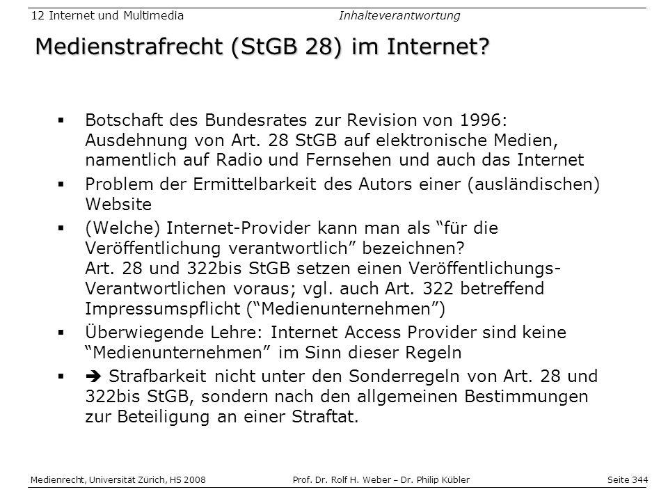 Medienstrafrecht (StGB 28) im Internet