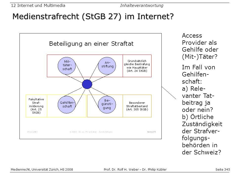 Medienstrafrecht (StGB 27) im Internet