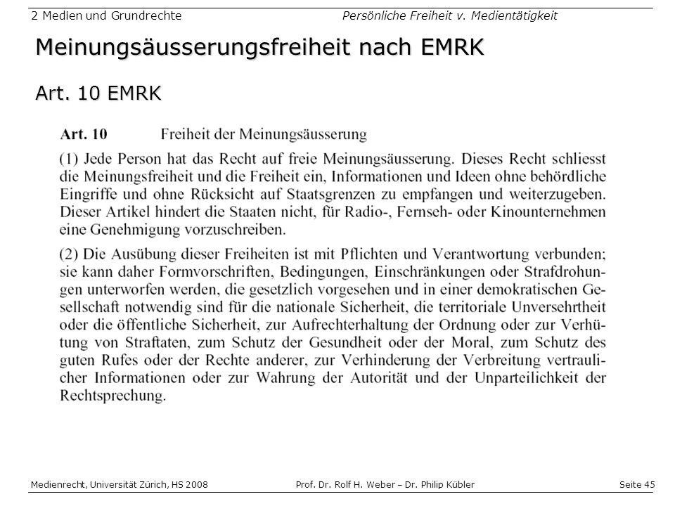 Meinungsäusserungsfreiheit nach EMRK