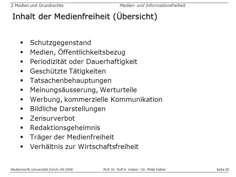 Inhalt der Medienfreiheit (Übersicht)