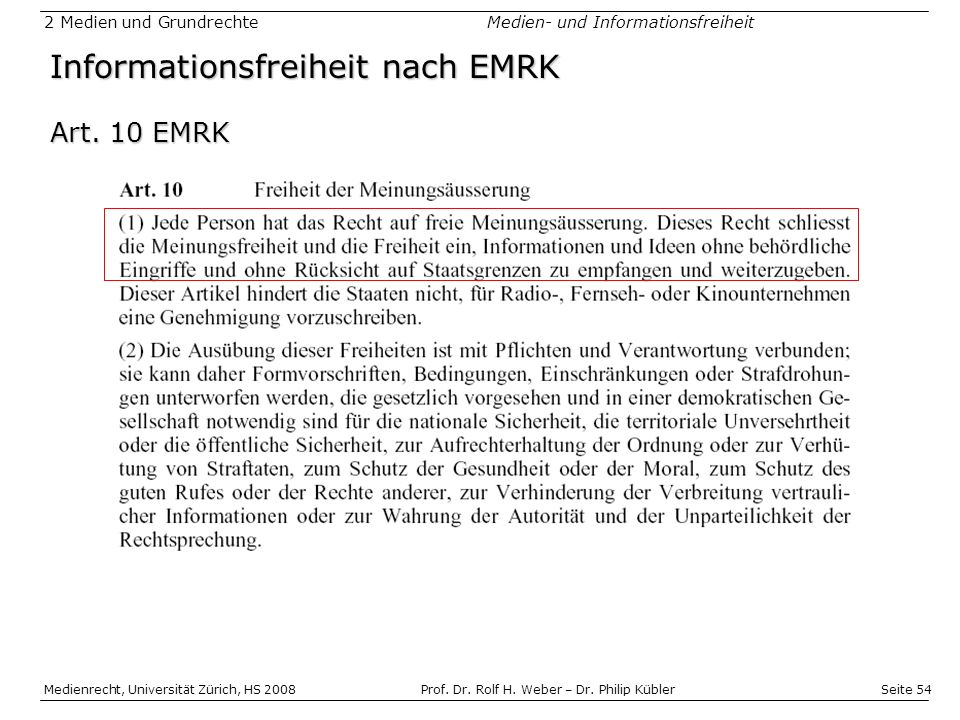 Informationsfreiheit nach EMRK